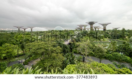 "SINGAPORE - DEC,31 2015: Panoramic view of Gardens by the Bay during morning. A Singapore government strategy to transform Singapore from a ""Garden City""  to a ""City in a Garden"".  - stock photo"