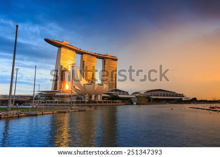 SINGAPORE-DEC 16, 2014:  View of Singapore skyline of Marina Bay Sands on December 16, 2014. Marina Bay Sands is billed as the world's most expensive standalone casino property at S$8 billion. - stock photo