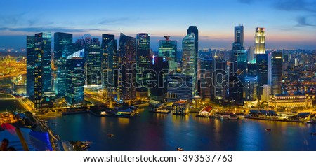 Singapore downtown at night. Aerial view of financial district during blue hour - stock photo