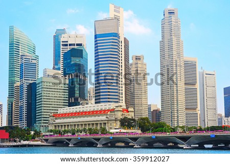 Singapore Downtown Core - financial district of Singapore - stock photo