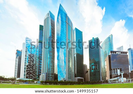 Singapore downtown in bright colors - stock photo