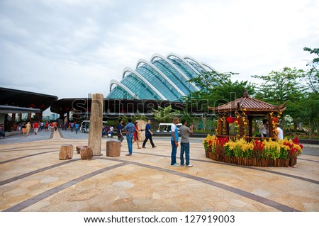 SINGAPORE-FEBRUARY 12:Gardens by the Bay spanning 101 hectares of reclaimed land in central Singapore consisting of three waterfront gardens, Singapore in Feb 12,2013 - stock photo