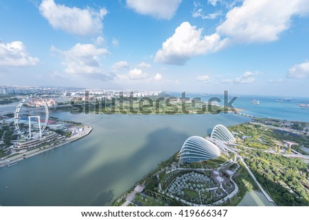 SINGAPORE, FEBRUARY 26 2016 : Singapore cityscape of the financial district, Singapore on February 26 2016 - stock photo