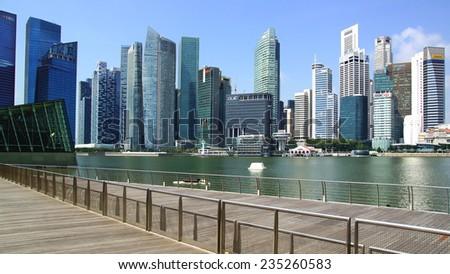 SINGAPORE - FEBRUARY 04, 2014: Singapore skyline. View includes next buildings: DBC, HSBC, Maybank, Capital Tower, Overseas Bank Plaza, OUB Centre, UOB Plaza One, OSBC, SingTel and ect.  - stock photo