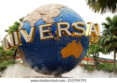 SINGAPORE - FEBRUARY 06, 2014: Universal Studios Singapore. Universal Studios Singapore is a theme park located within Resorts World Sentosa on Sentosa Island.                      - stock photo