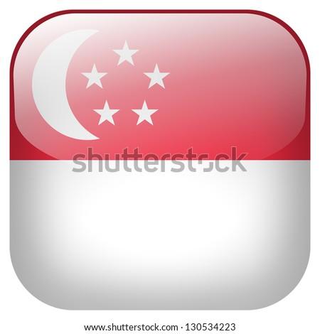 Singapore flag button - stock photo