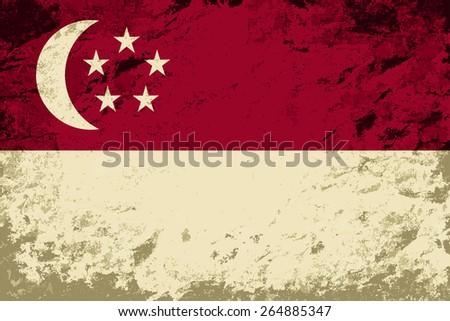 Singapore flag Grunge background. Raster version - stock photo