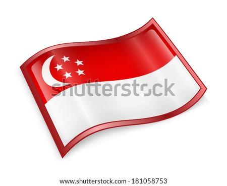 Singapore Flag Icon, isolated on white background - stock photo