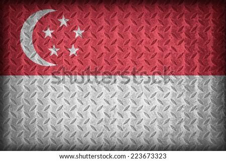 Singapore flag pattern on the diamond metal plate texture ,vintage style - stock photo