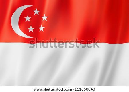 Singapore flag, three dimensional render, satin texture - stock photo