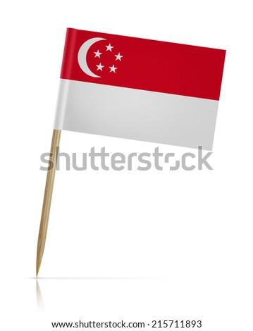 Singapore flag toothpick on white background - stock photo