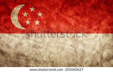 Singapore grunge flag. Vintage, retro style. High resolution, hd quality. Item from my grunge flags collection. - stock photo