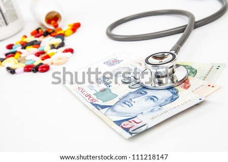 Singapore Health Insurance concept with stethoscope on money isolated on white - stock photo