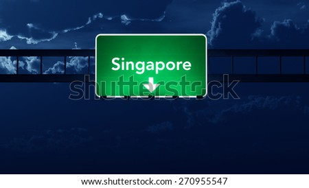 Singapore Highway Road Sign at Night 3D artwork - stock photo
