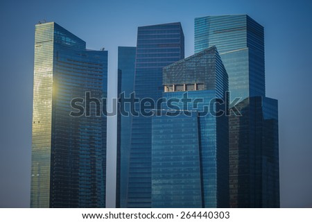 SINGAPORE-Jan 25 : Landscape of the Singapore financial district and business building on Jan 25, 2015 in Singapore. - stock photo
