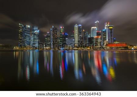 SINGAPORE-1 JAN 2016 ; Singapore city in new year midnight  - stock photo