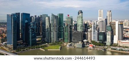 Singapore - January 7: Aerial view of the city skyline in Singapore on January 7, 2015. - stock photo