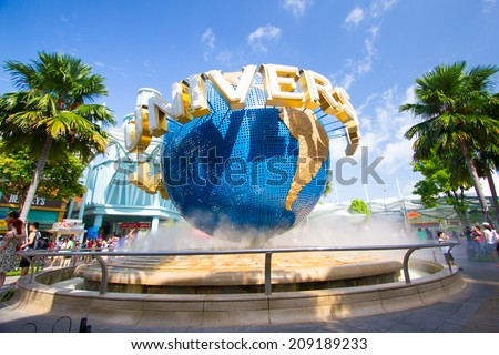 SINGAPORE - JULY 15: A giant rotating  Universal globe in front of Universal studio Singapore on July 15,2014 - stock photo