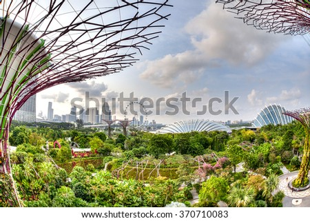 SINGAPORE - JULY 13: Aerial view of the city skyline from the Supertree Grove Skywalk at Gardens by the Bay July 13, 2015. These man-made trees has a connected 128-metre long walkway. HDR rendering. - stock photo