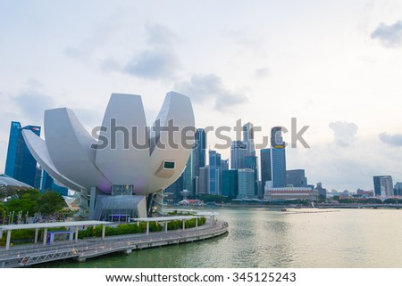 SINGAPORE - July 19, 2015: ArtScience Museum is one of the attractions at Marina Bay Sands, an integrated resort in Singapore. - stock photo