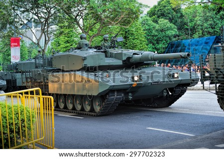 SINGAPORE - JULY 18, 2015: Daytime of National Day Parade (NDP) Rehearsal 2015 in City Hall, Singapore to celebrates 50 years of independence. SG50 is for all Singaporeans to celebrate as one people.  - stock photo