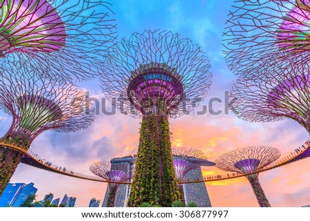 SINGAPORE - JULY 5: Gardens by the Bay on July 5, 2015 in Singapore. Gardens by the Bay is a park spanning 101 hectares of reclaimed land in central Singapore - stock photo