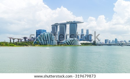 SINGAPORE - JULY 29_Marina Bay Sand and Gardens by the Bay on July 29, 2015 in Singapore. - stock photo
