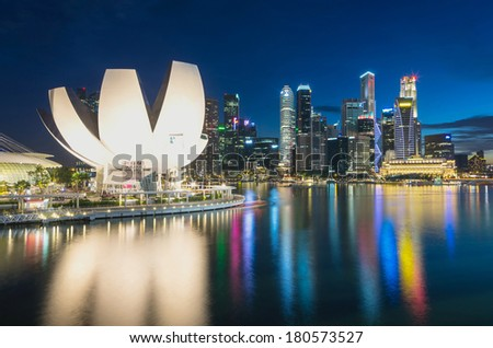 SINGAPORE - JULY 8 : Marina Bay Sands, Lotus Architecture and helix bridge are highlight point on July 8, 2012 in Singapore. - stock photo