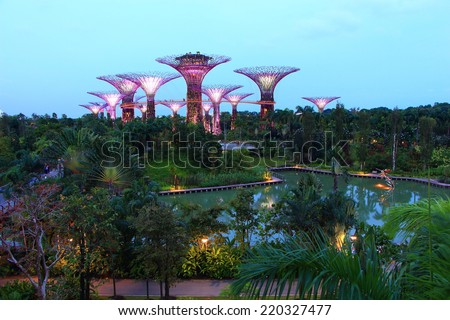 SINGAPORE -JULY 12: Night view of Supertree Grove at Gardens by the Bay on July 12, 2014 in Singapore. Spanning 101 hectares of reclaimed land in central Singapore, adjacent to the Marina Reservoir.  - stock photo