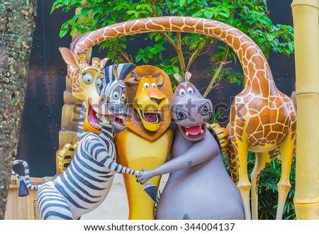 SINGAPORE - July 20 2015: Tourists and theme park visitors Attraction in Universal Studios at Singapore in Sentosa island, Singapore - stock photo