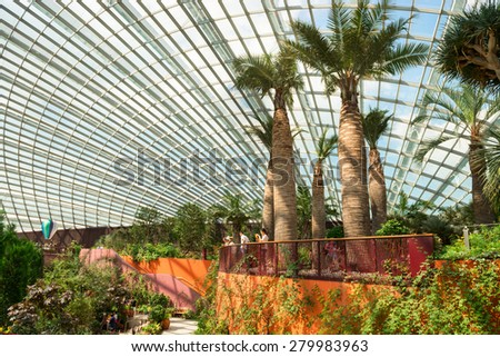 SINGAPORE - 01 JUN 2013: Interior of the Flower Dome, a massive, 1.2 hectare glasshouse conservatory, and a central attraction at Gardens by the Bay in Singapore. - stock photo