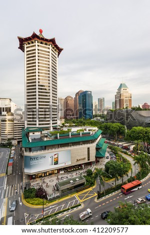 Singapore, 06, Jun 2012: Orchard Road landmark Marriot Tang Plaza Hotel in the main shopping district. - stock photo