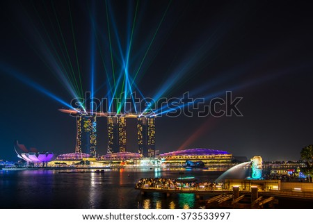 Singapore June 14 ; 2013 Laser show at marina bay sand , Singapore on 14 June 2013 - stock photo