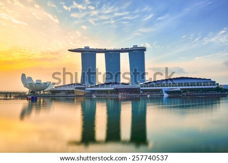 Singapore JUNE 15 , Sunrise of Singapore Skyline and view of Marina Bay in the morning on 15 June 2013 - stock photo