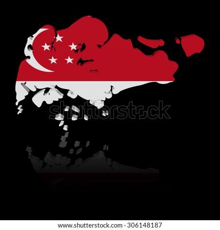 Singapore map flag with reflection illustration - stock photo