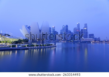 SINGAPORE - MAR 21 : Beautiful ArtScience Museum at Marina Bay Sands on March 21, 2015 in Singapore. The lotus-inspired premier museum features over 50,000 square feet of gallery space. - stock photo