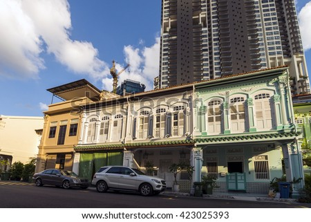SINGAPORE, MAR 06, 2016: Row of conservation houses along Blair road. - stock photo