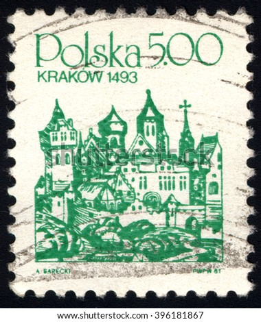 SINGAPORE - MARCH 26, 2016: A stamp printed in Poland shows Cracow 1493, Town series, circa 1981 - stock photo