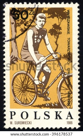 SINGAPORE - MARCH 26, 2016: A stamp printed in Poland shows H. Weiss Dynasy Champion (1904-1908), circa 1986. - stock photo