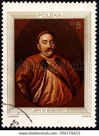 SINGAPORE - MARCH 26, 2016: A stamp printed in Poland shows King Portraits - King John III Sobieski, circa 1983. - stock photo