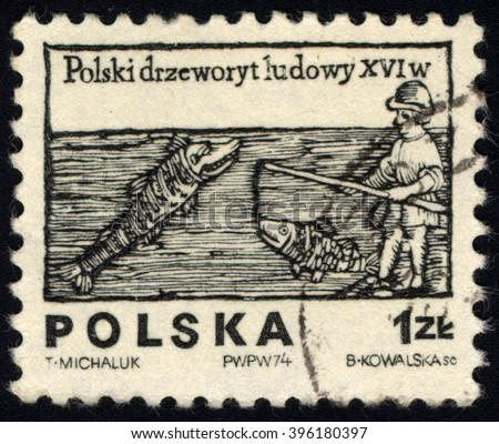 SINGAPORE - MARCH 26, 2016: A stamp printed in Poland shows to commemorate Polish Folklore series shows Angler and Fish, circa 1974 - stock photo