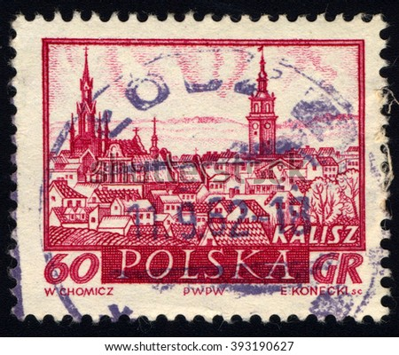 SINGAPORE - MARCH 20, 2016: A stamp printed in Poland to commemorate Historic Polish Towns issue shows Kalisz, circa 1960 - stock photo
