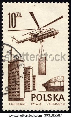 SINGAPORE - MARCH 20, 2016: A stamp printed in Poland to commemorate Modern Airflight issue shows Mil Mi-6 helicopter, circa 1976. - stock photo