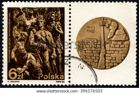 SINGAPORE - MARCH 26, 2016: A stamp printed in Poland to commemorate 40th Anniversary of Warsaw Ghetto Uprising, circa 1983. - stock photo