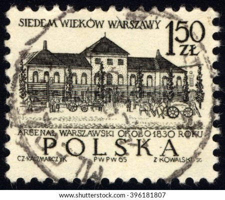 SINGAPORE - MARCH 26, 2016: A stamp printed in Poland to commemorate 700th Anniversary of Warsaw shows 19th Century of Warsaw Arsenal Building, circa 1965. - stock photo