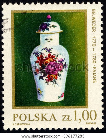 SINGAPORE - MARCH 26, 2016: A stamp printed in Poland to commemorate 18th Century of Polish Ceramic shows Kwan Vase, circa 1981. - stock photo