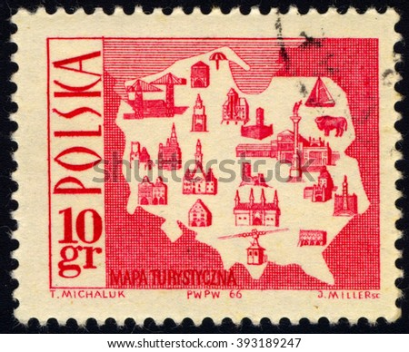 SINGAPORE - MARCH 20, 2016: A stamp printed in Poland to commemorate Tourism series shows Tourist Map, circa 1966 - stock photo