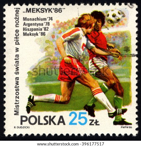 SINGAPORE - MARCH 26, 2016: A stamp printed in Poland to commemorate World Cup Soccer 1986, circa 1986. - stock photo