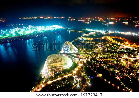 SINGAPORE - MARCH 07 : An aerial view of Gardens by the Bay on March 07, 2013 in Singapore. Gardens by the Bay is a park spanning 101 hectares of reclaimed land  - stock photo