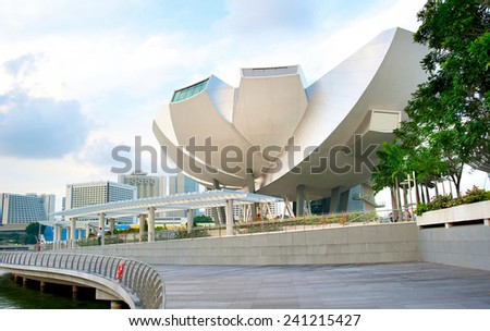 SINGAPORE - MARCH 08, 2013: ArtScience Museum in Singapore. It is one of the attractions at Marina Bay Sands. It has 21 gallery spaces with a total area of 6,000 square meters.  - stock photo